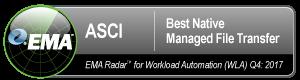 ASCI Awarded Best Native Managed File Transfer
